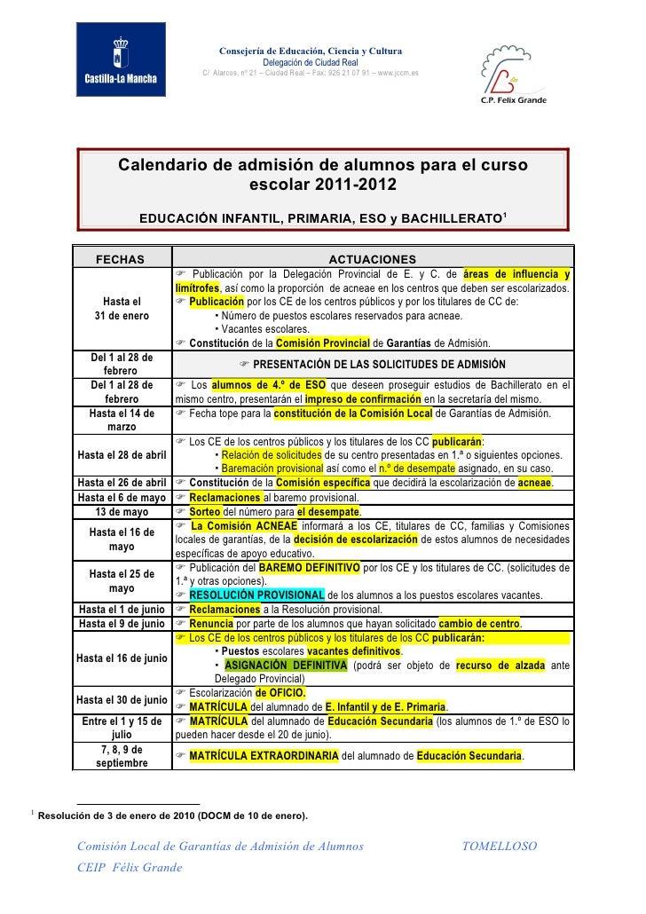 Calendario 2011  -  2012