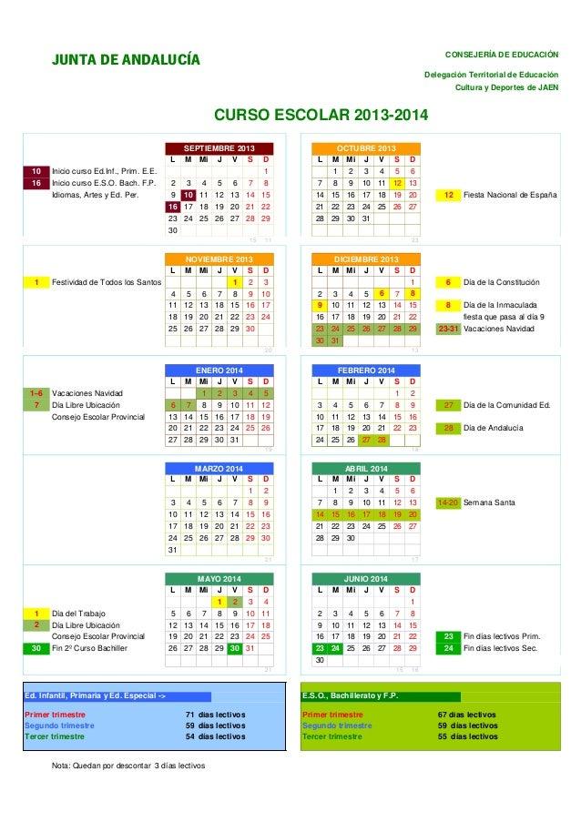 Calendario escolar 2013/14 - Jaén