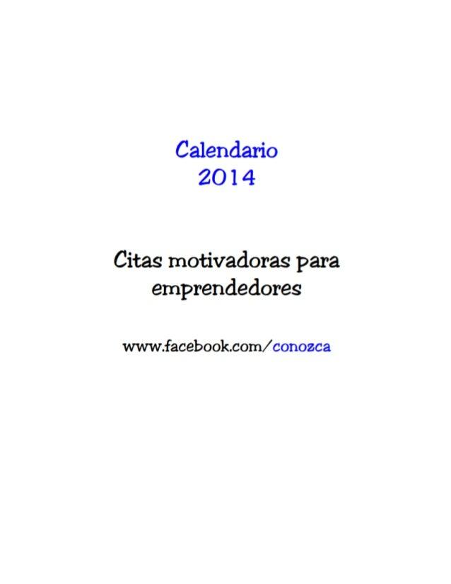Calendario 2014 frases motivadoras