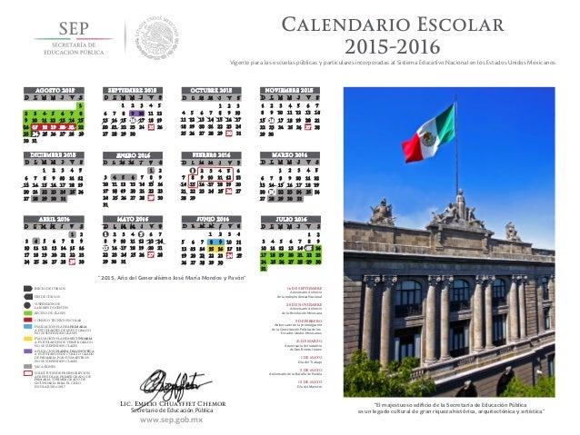Calendario Escolar2015-2016Vigente para las escuelas públicas y ...
