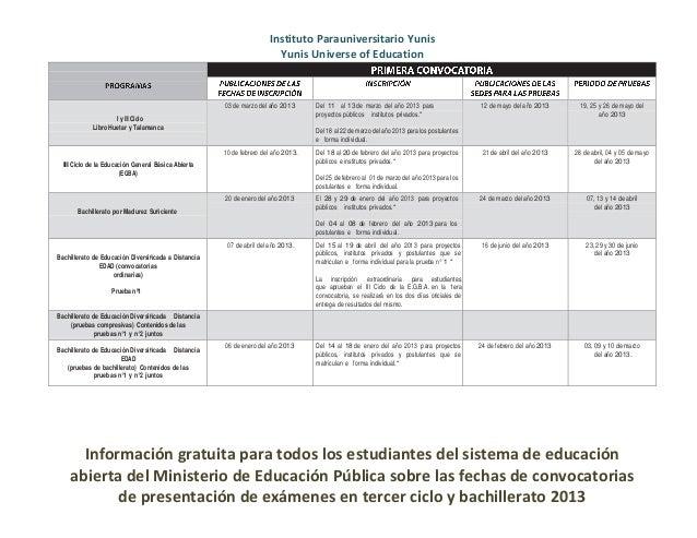 Calendario anual pruebas de educación abierta 2013