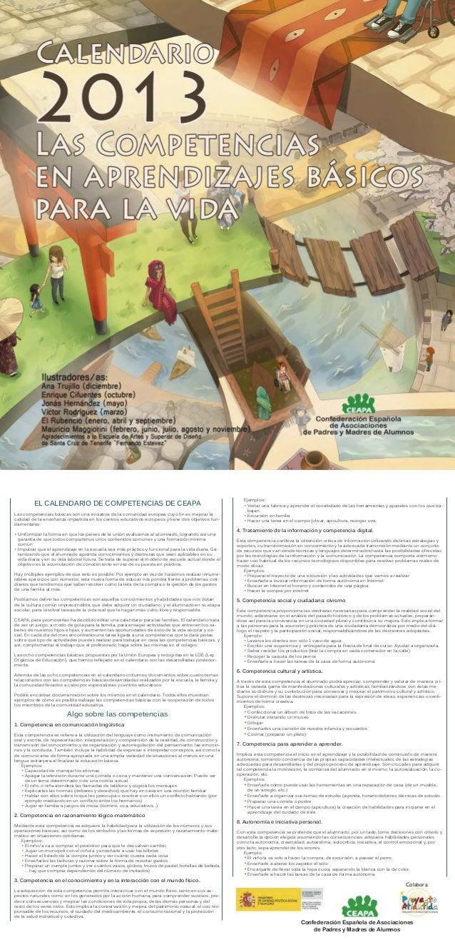 Ejemplos:         EL CALENDARIO DE COMPETENCIAS DE CEAPA                                                          • Visita...