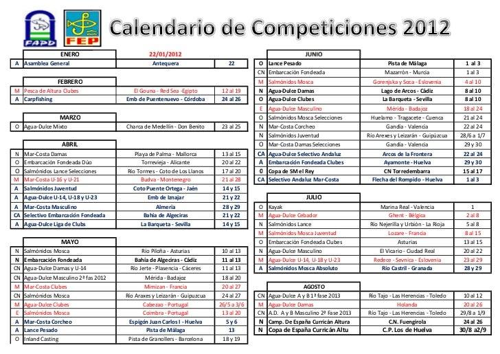 Calendario competiciones 2012