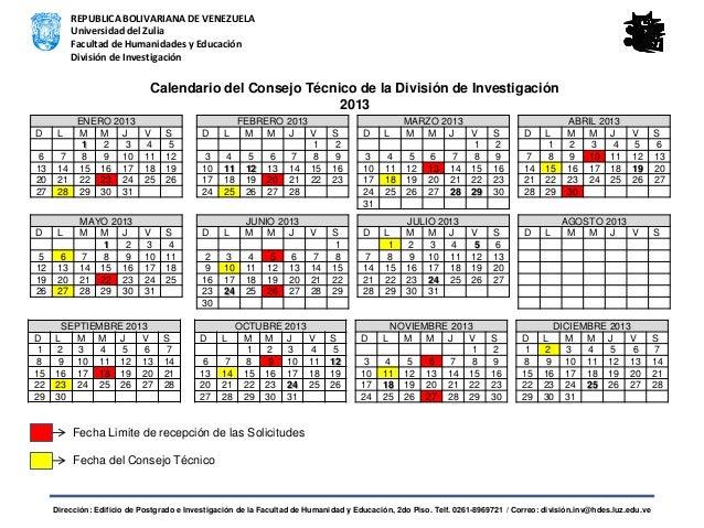 Calendario del Consejo Técnico de la División de Investigación 2013