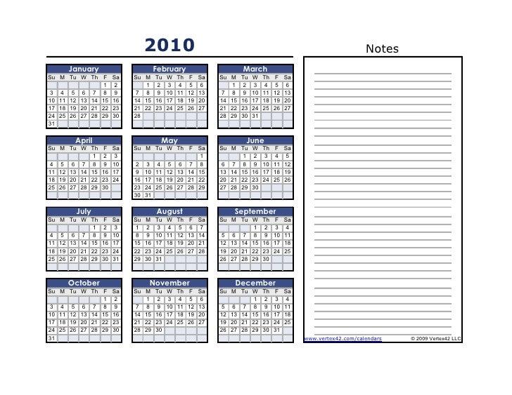 Calendario de actividades 2010