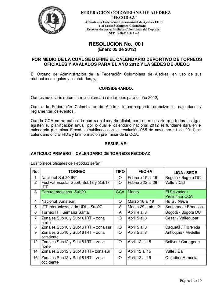 "FEDERACION COLOMBIANA DE AJEDREZ                                      ""FECODAZ""                             Afiliada a la ..."