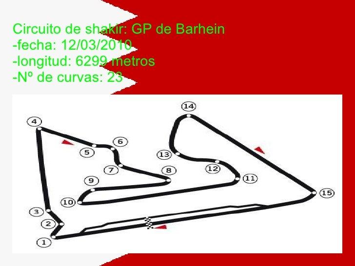 Circuito de shakir: GP de Barhein -fecha: 12/03/2010 -longitud: 6299 metros -Nº de curvas: 23