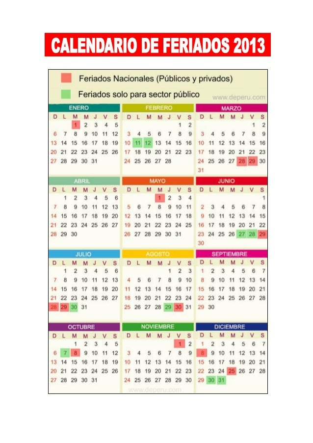 Calendario de feriados 2013