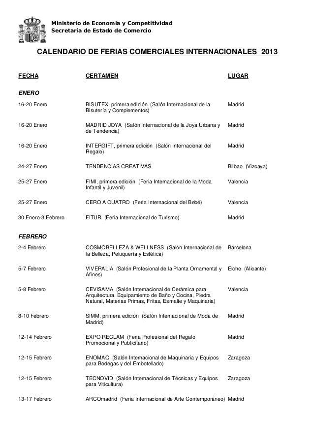Calendario de ferias comerciales internacionales 2013 for Calendario ferias