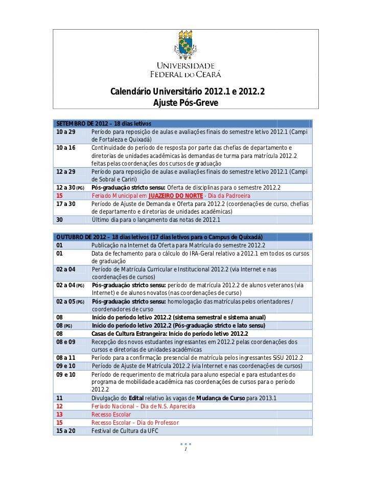 Calendário Universitário 2012 e 2012.2                                             2012.1                               Aj...