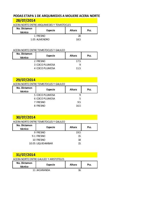 PODAS ETAPA 1 DE ARQUIMEDES A MOLIERE ACERA NORTE 28/07/2014 ACERA NORTE ENTRE ARQUIMEDES Y TEMISTOCLES No. Dictamen técni...