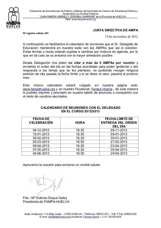 FAMPA Huelva - Calendario de reuniones delegado