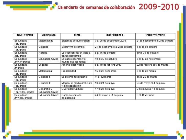 semanas de colaboración                                      - 2010     Nivel y grado         Asignatura                 T...