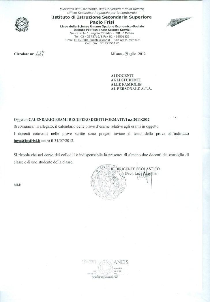 Calendario delle prove di recupero settembre 2012