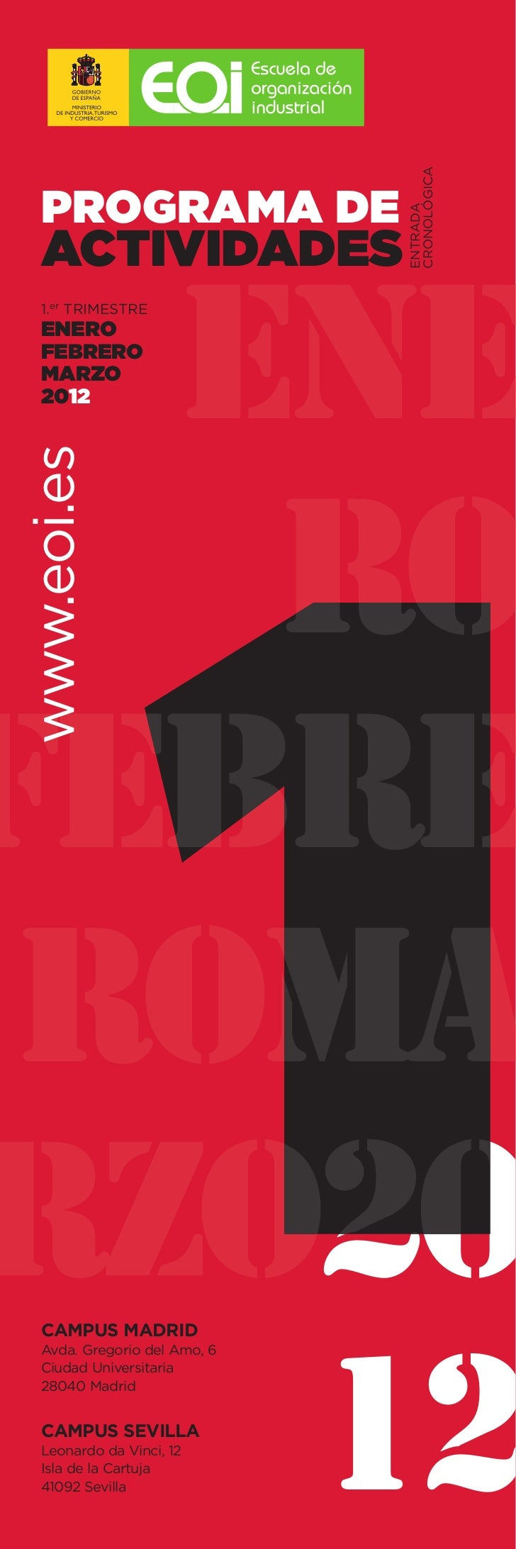 CRONOLÓGICA PROGRAMA DE                             ENTRADA ACTIVIDADES   ene 1.er TRIMESTRE ENERO FEBRERO MARZO 2012www.e...