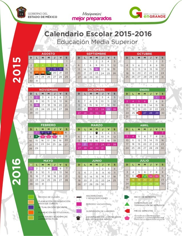 Calendario Escolar 2015-2016Educación Media SuperiorANIVERSARIO DE LA ...