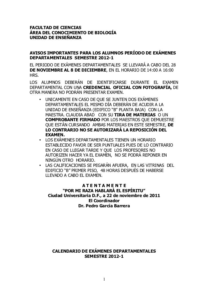 FACULTAD DE CIENCIASÁREA DEL CONOCIMIENTO DE BIOLOGÍAUNIDAD DE ENSEÑANZAAVISOS IMPORTANTES PARA LOS ALUMNOS PERÍODO DE EXÁ...