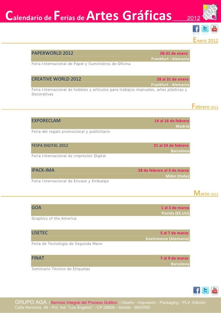 Calendario ferias artes gr ficas a o 2012 for Calendario ferias