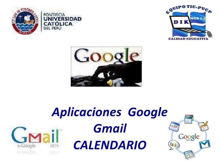 Aplicaciones  Google Gmail CALENDARIO
