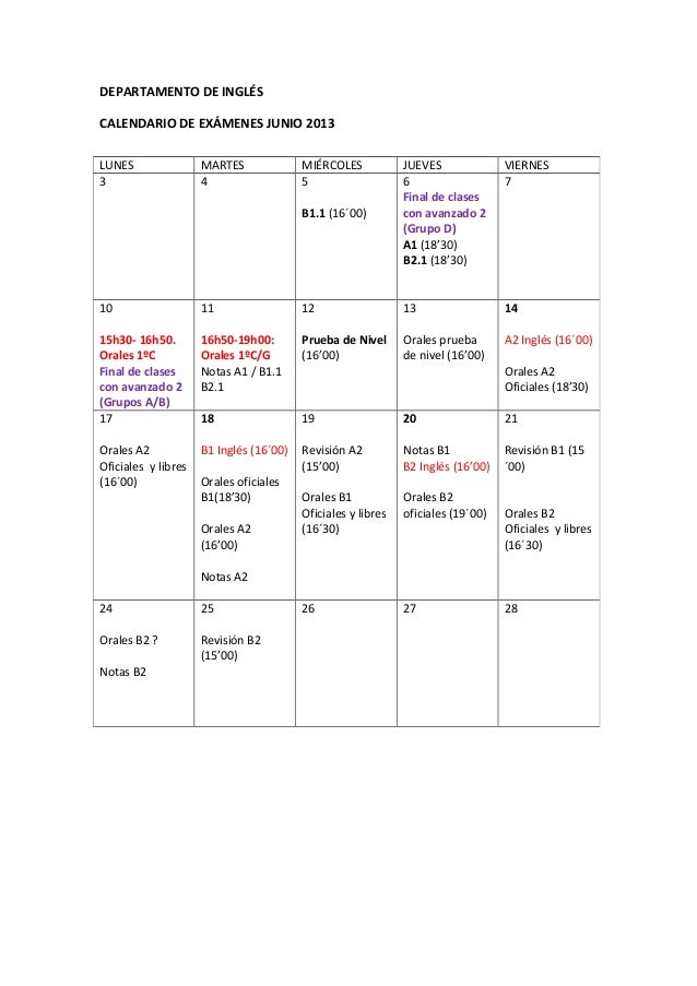 Calendario junio 13