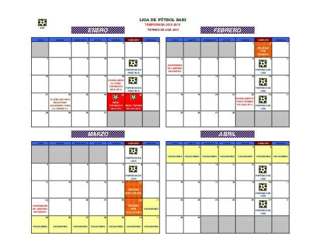 Calendario Torneo de Liga 2013