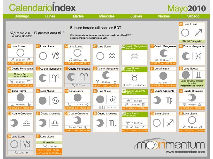 Calendario lunar astrologico Mayo 2010