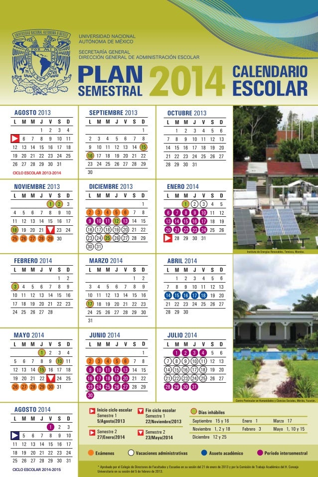 Calendario semestral unam_2014