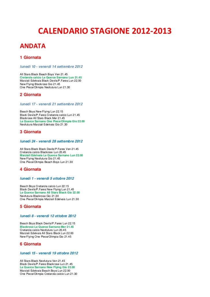 Calendario Stagione 2012-2013