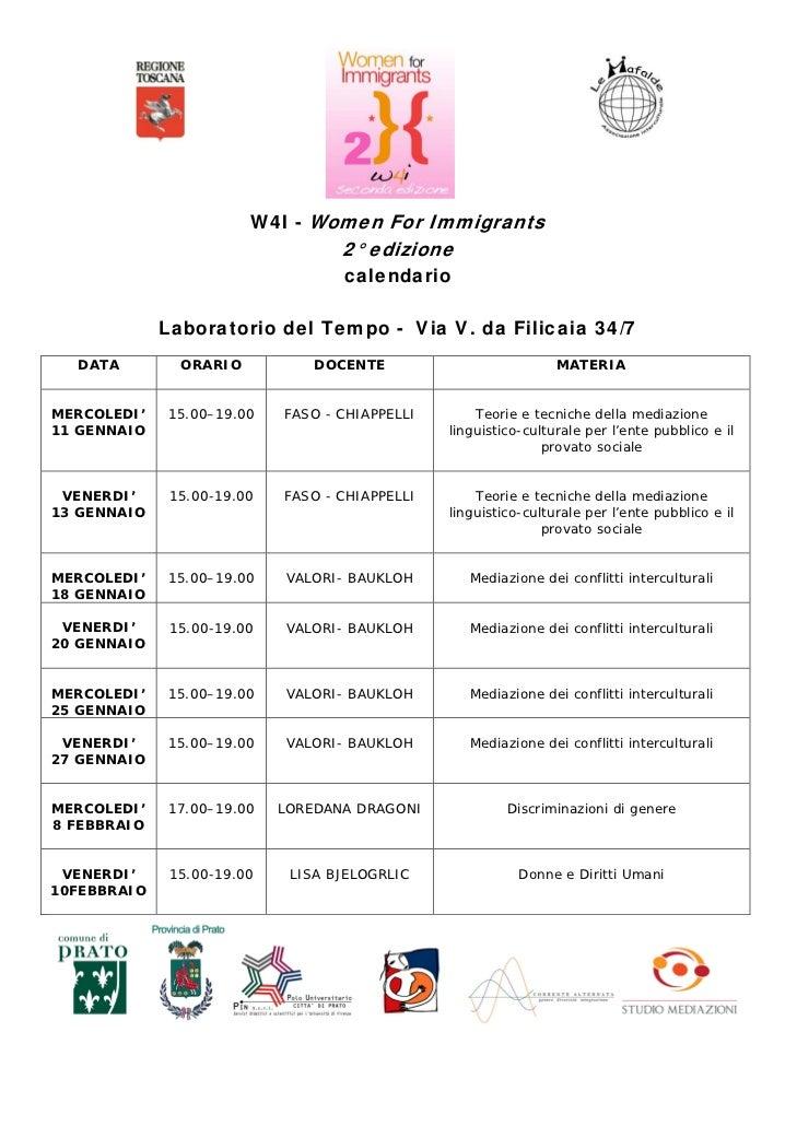 W4I - Women For Immigrants                                   2° edizione                                   calendario     ...