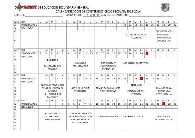 DEPARTAMENTO DE EDUCACION SECUNDARIA GENERAL CALENDARIZACION DE CONTENIDOS CICLO ESCOLAR: 2013-2014 ESCUELA:______________...