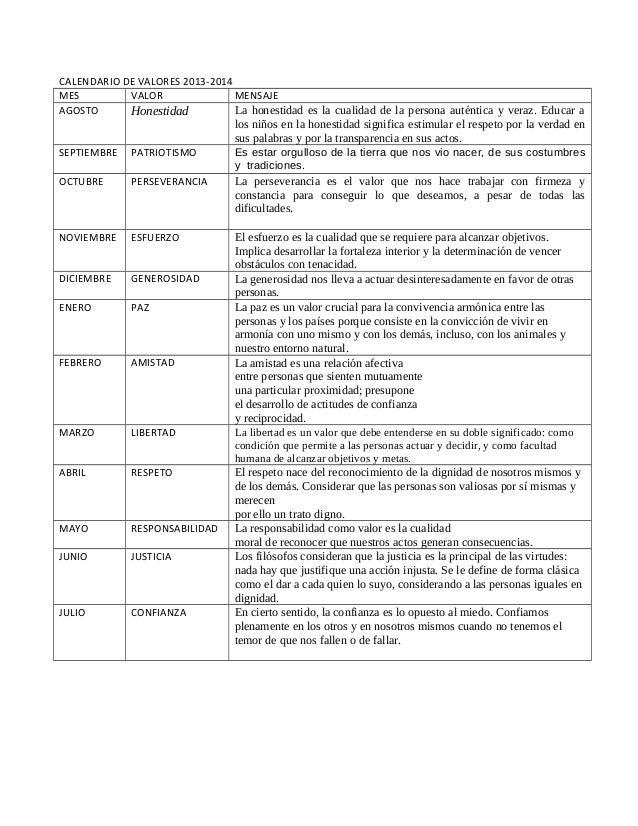 Calendarizacion  de valores 2013  2014