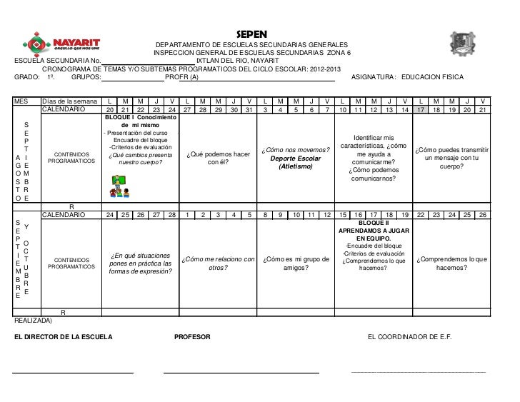 Calendarizacion educación física de primer 2012