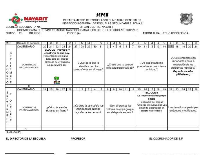 Calendarizacion educación física de segundo 2012