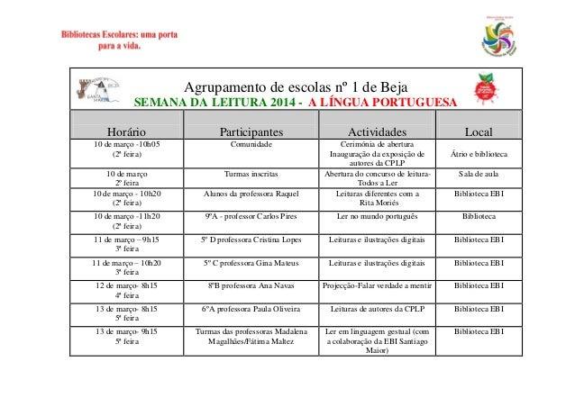 Agrupamento de escolas nº 1 de Beja SEMANA DA LEITURA 2014 - A LÍNGUA PORTUGUESA Horário  Participantes  Actividades  10 d...