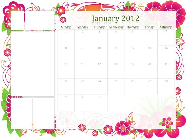 January 2012Sunday   Monday   Tuesday   Wednesday Thursday   Friday   Saturday  1        2        3          4         5  ...