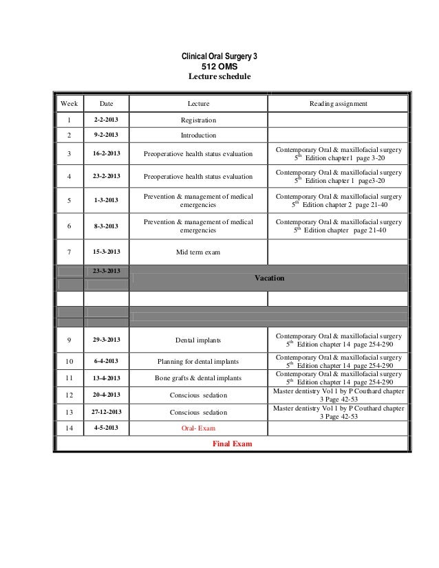 Clinical Oral Surgery 3                                       512 OMS                                   Lecture scheduleWe...
