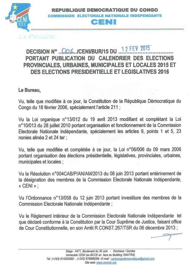 Calendrier eléctoral global RDC-2016