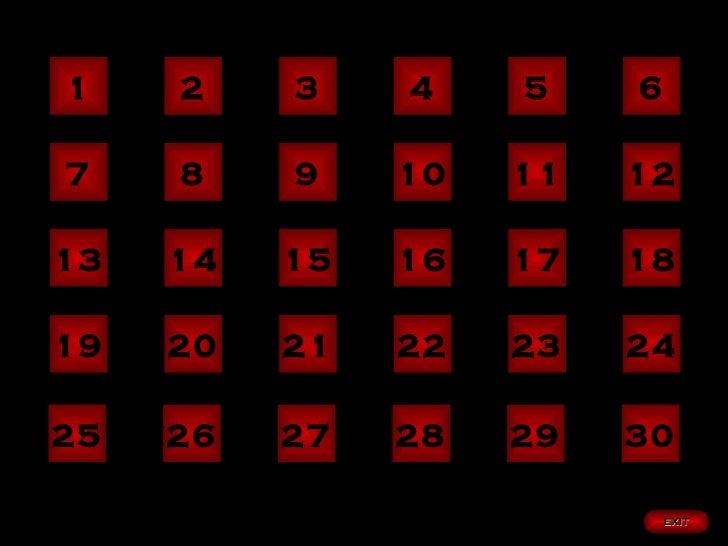 1 2 3 4 5 6 7 8 9 10 11 12 13 14 15 16 17 18 19 20 21 22 23 24 EXIT 25 26 27 28 29 30
