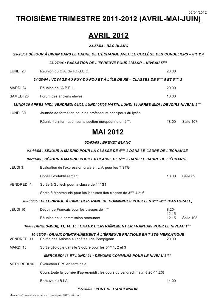 05/04/2012    TROISIÈME TRIMESTRE 2011-2012 (AVRIL-MAI-JUIN)                                                              ...