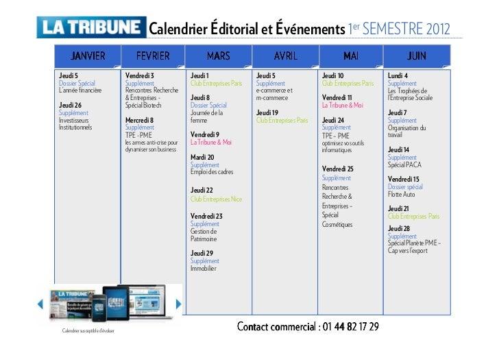 Calendrier 1er semestre 2012 la tribune