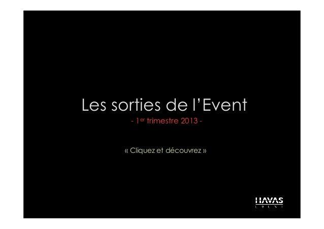 Les sorties de l'Event      - 1er trimestre 2013 -     «Cliquez et découvrez»