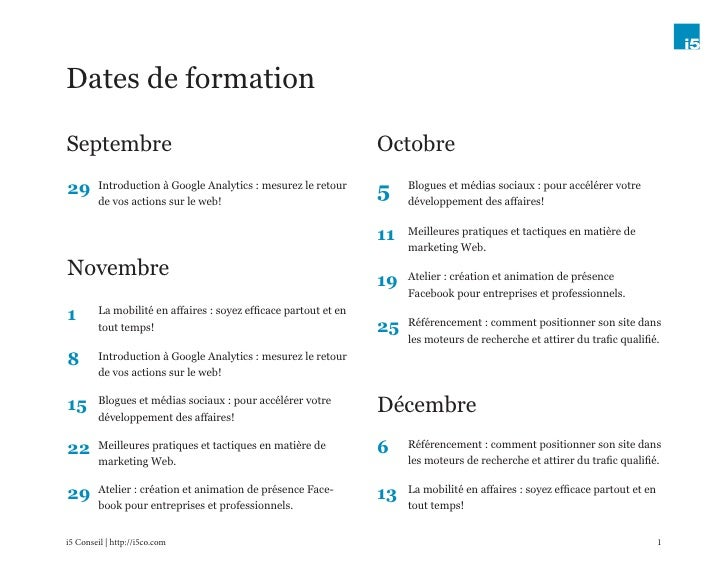 Dates de formationSeptembre                                                         Octobre29       Introduction à Google ...