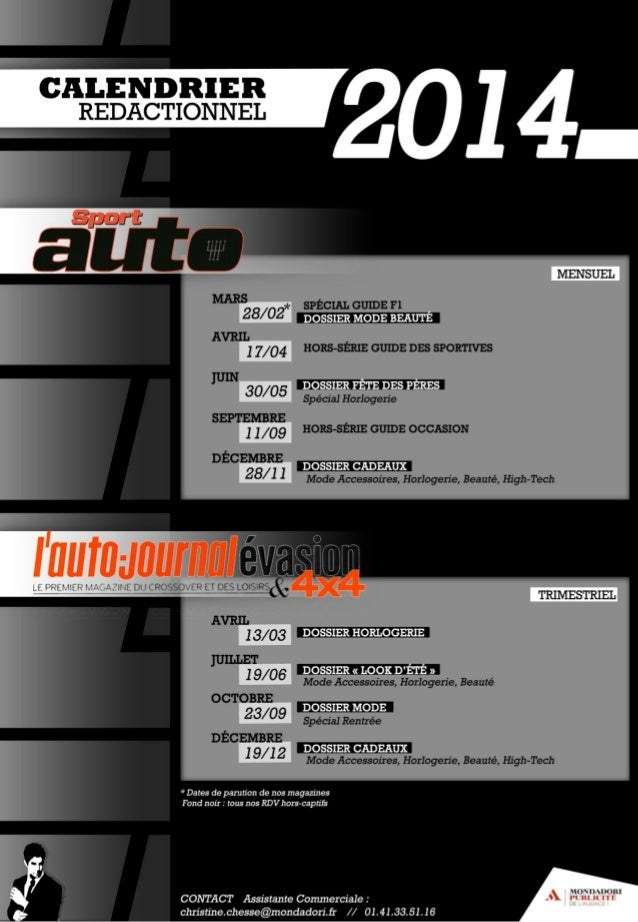 Calendrier redactionnel auto Mondadori 2014