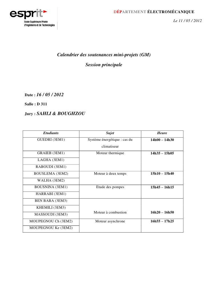 Calendrier s & b (16 05-2012)