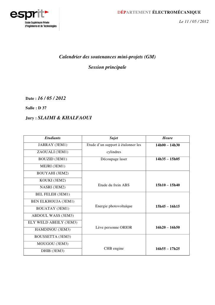 DÉPARTEMENT ÉLECTROMÉCANIQUE                                                                               Le 11 / 05 / 20...