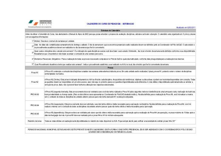 CALENDÁRIO DO CURSO DE PEDAGOGIA - SISTEMA EAD                                                                            ...