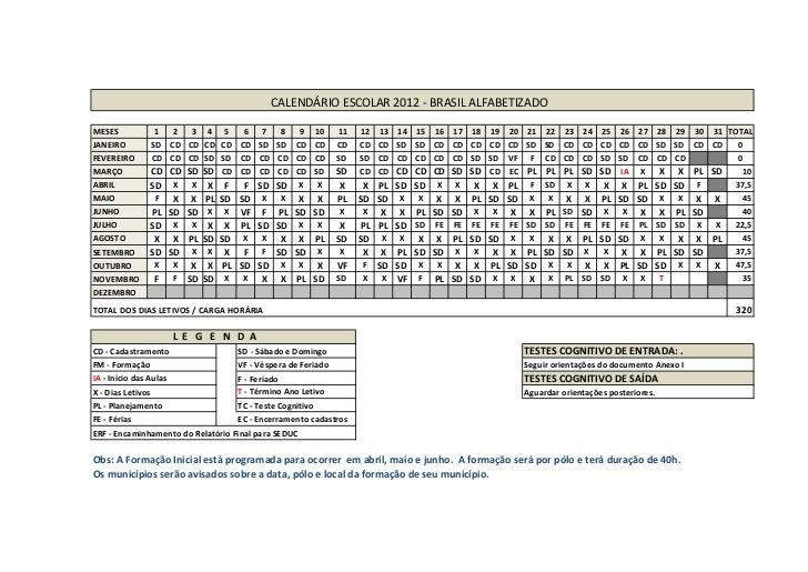 CALENDÁRIO ESCOLAR 2012 - BRASIL ALFABETIZADOMESES           1  2  3 4 5    6         7  8  9 10          11   12   13   1...