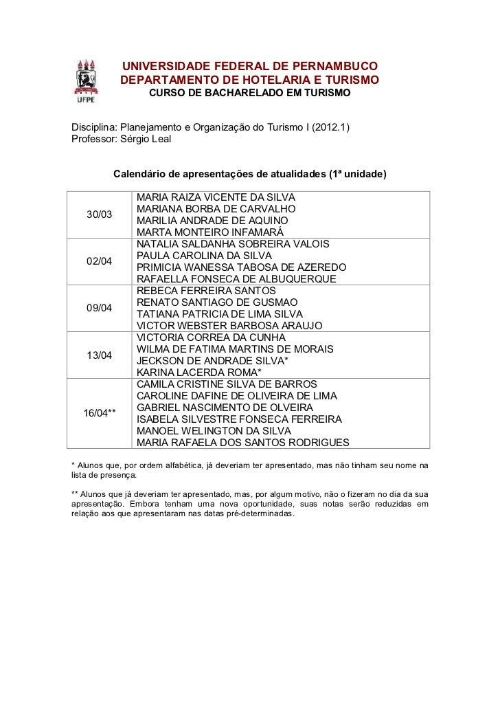 Calendário de apresentações de atualidades - POT I (1ª unidade)
