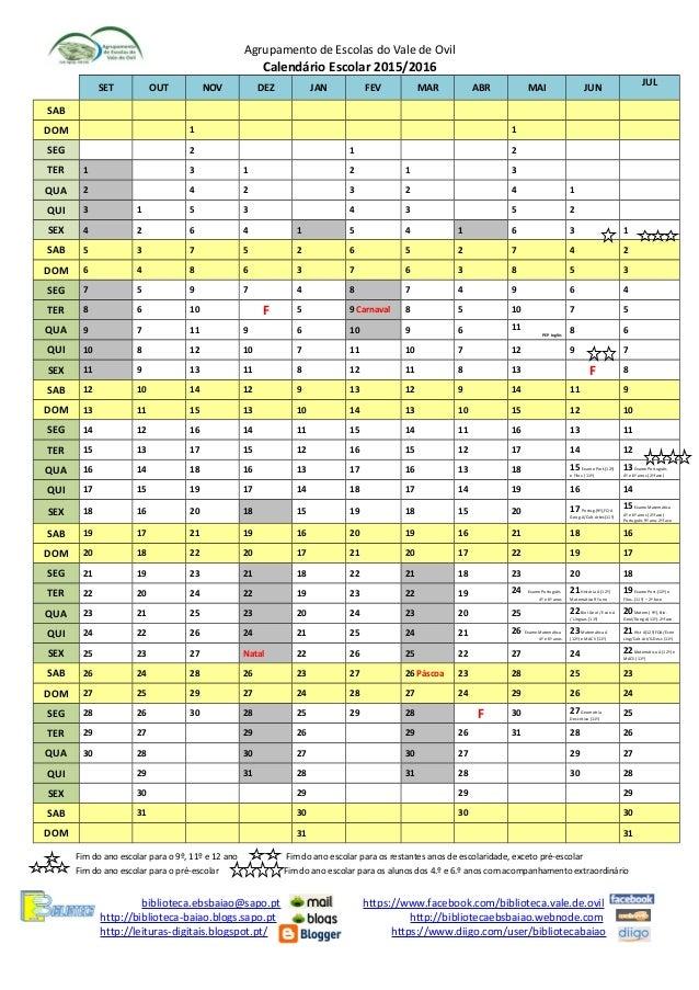 Agrupamento de Escolas do Vale de OvilCalendário Escolar 2015/2016SET ...