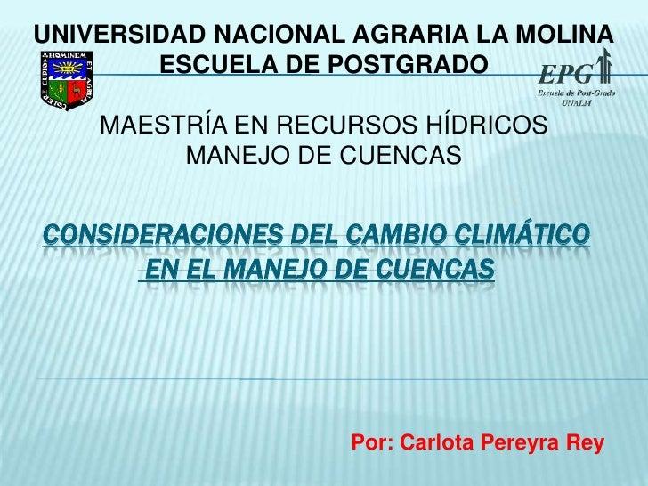 Calentamiento Global Y Manejo De Cuencas